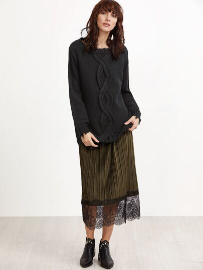 Black Frayed Cable Pattern Sweater