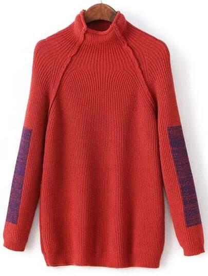 Red Color Block Mock Neck Raglan Sleeve Sweater