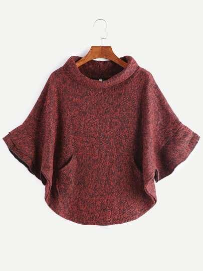Burgundy Turtleneck Pocket Slub Poncho Coat