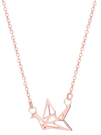 Rose Gold Plated Crane Openwork Pendant Necklace