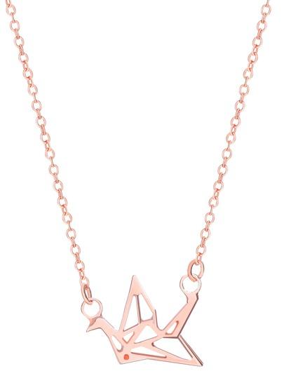 Collier pendentif à grille plaquée -doré rose