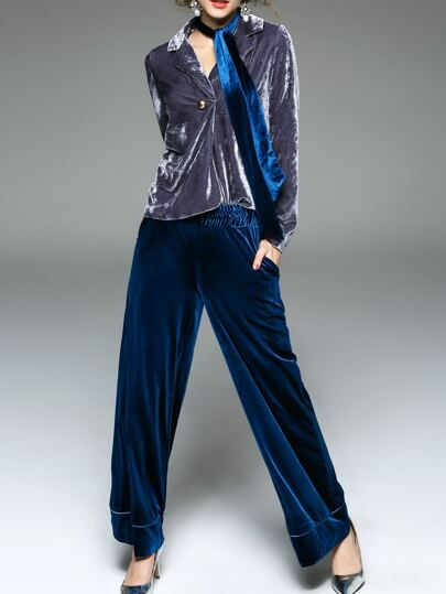 Blue Lapel Velvet Top With Pants