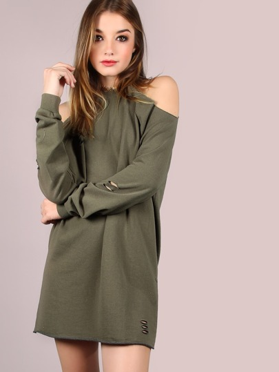 Distressed French Terry Tunic Dress OLIVE