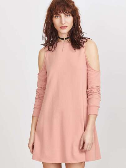 Pink Cutout Shoulder Sweatshirt Dress
