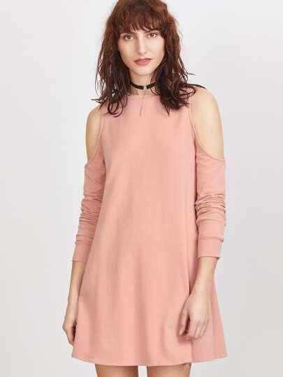 Vestido estilo sudadera con hombros al aire - rosa