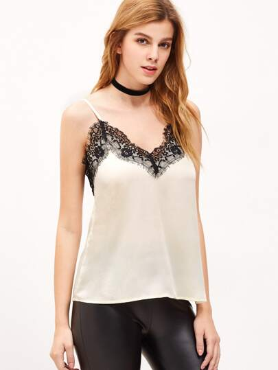 White Contrast Lace Trim Cami Top