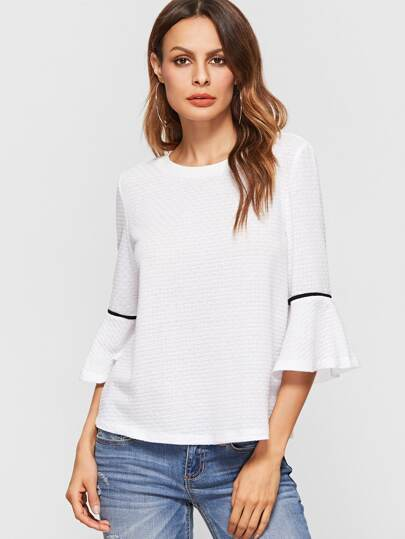 White Ruffle Cuff Elbow Sleeve Top