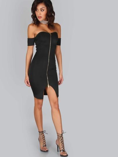 Bardot Scuba Zip Front Bodycon Dress BLACK