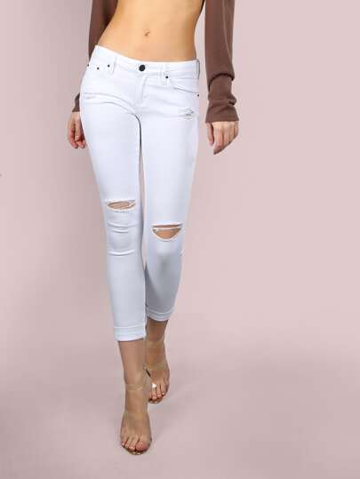 Low Rise Knee Slit Ankle Skinnies WHITE