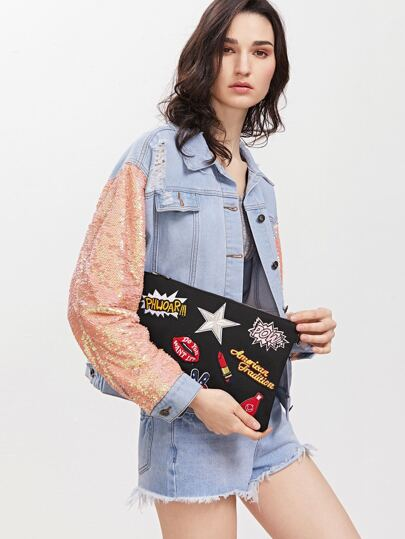 Black Embroidered Patches Zip Closure Crossbody Bag
