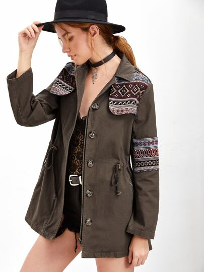 Brown Tribal Pattern Gun Flap And Sleeve Drawstring Utility Jacket