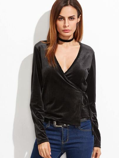 Camiseta cruzada con cuello en V de terciopelo - negro