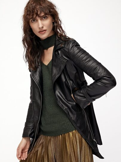 Black Faux Leather Belted Asymmetric Zip Biker Coat