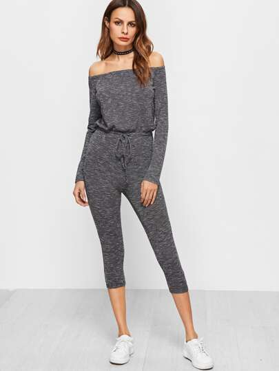 Skinny Jumpsuit Schulterfrei Tunnelzug am Taille-grau