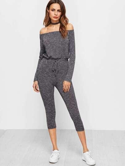 Grey Marled Knit Off The Shoulder Drawstring Waist Skinny Jumpsuit