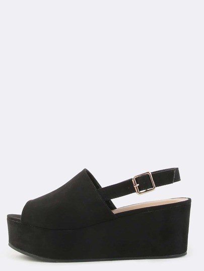Open Toe Faux Suede Mule Flatforms BLACK
