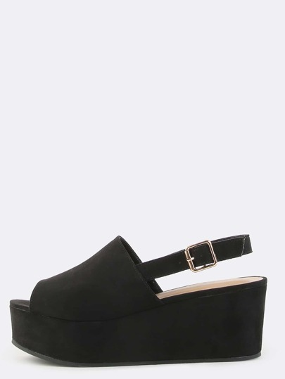 Open Toe Faux Suede Mule Flatforms BLACK