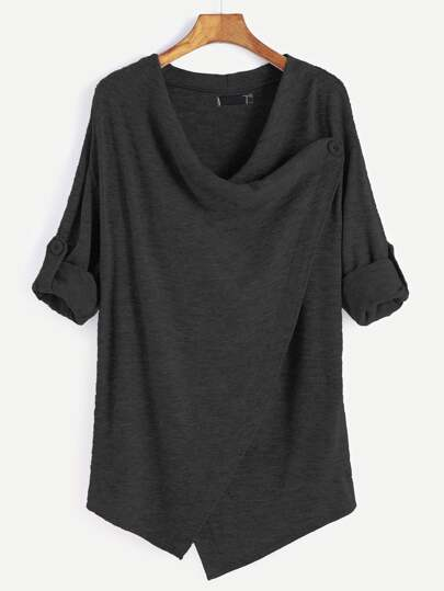 Black Roll Tab Sleeve Asymmetric Hem Cardigan