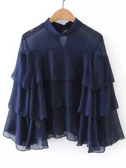Navy Mesh-Details Layered Bluse