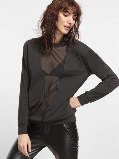 Чёрный модный свитшот со сетью