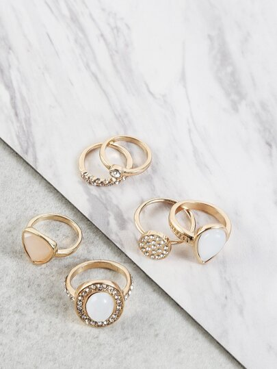 Chunky Bejeweled Metallic Ring Set WHITE