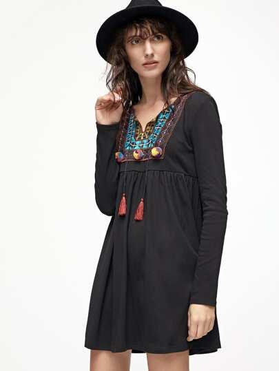 Black Tassel Tie Embroidered Neck High Waist Dress