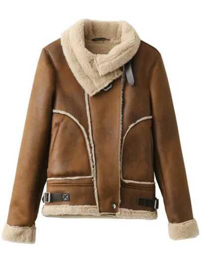 Mantel mit Schnallen Wildleder-kamel