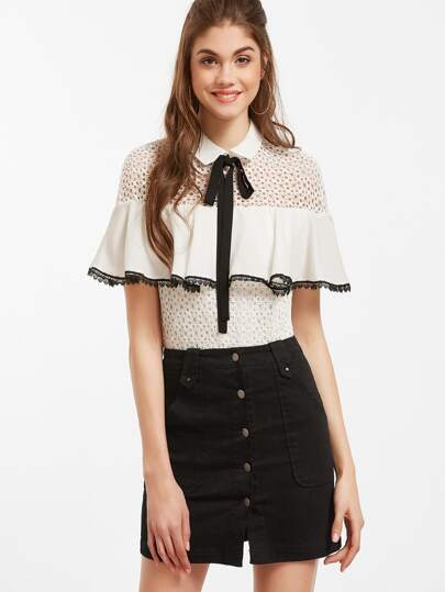Tie Neck Ruffle Trim Hollow Out Crochet Blouse