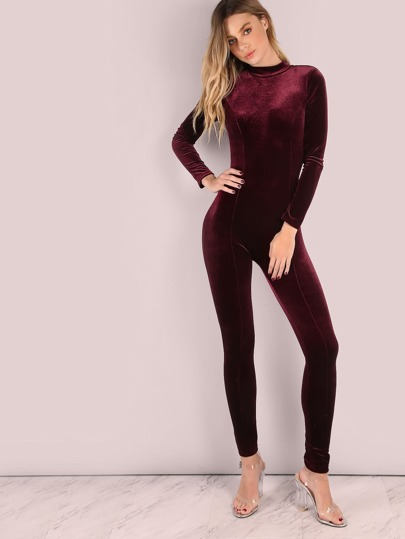 Sleeved Mock Neck Velvet Skinny Jumpsuit WINE