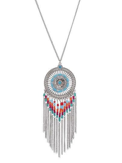 Silver Tone Boho Tassel Trim Beaded Round Pendant Necklace