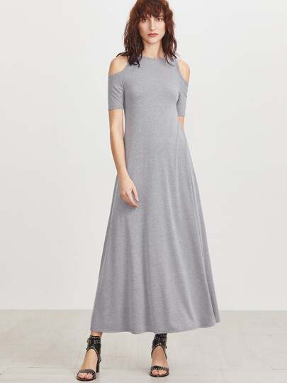 Heather Grey Open Shoulder A Line Long Dress