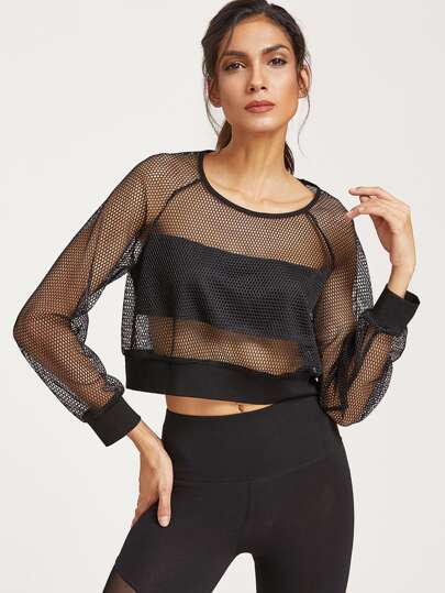 Raglan Sleeve Crop Fishnet Sweatshirt