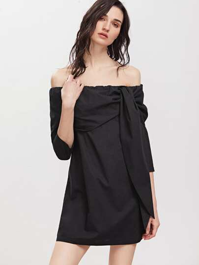 Black Foldover Tied Off The Shoulder Dress