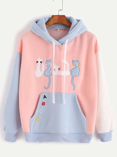 Color Block Hooded Cats Embroidered Pocket Sweatshirt