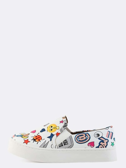 Platform Slip On Cartoon Sneakers WHITE