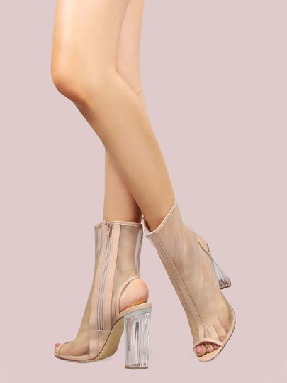 Peep Toe Mesh Crystal Heel Booties NUDE