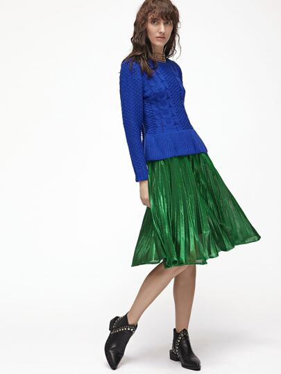 Green Pleated A Line Midi Skirt