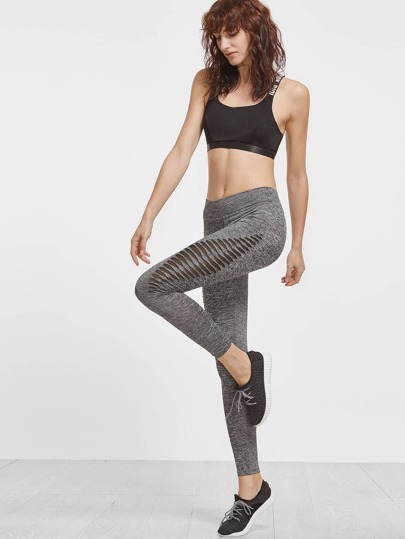 Grey Marled Knit Cutout Mesh Insert Leggings