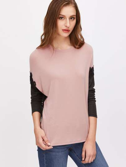 T-Shirt Applique Pizzo Ricamato Spalle Cascanti - Contrasto