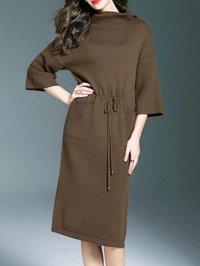 Armee-Grün-hohe Ansatz Drawstring-Taschen Kleid
