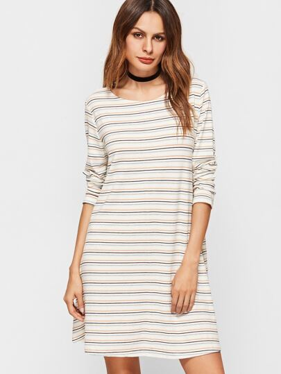 White Striped Long Sleeve Tee Dress
