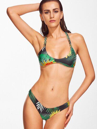 Bikini Set Trofischer Druck Kreuz Hinten-grün