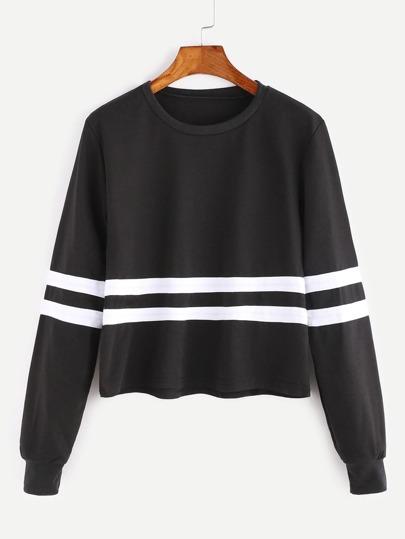Black Long Sleeve Striped Trim Sweatshirt