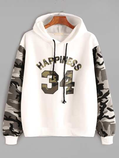 Contrast Camo Sleeve Varsity Print Hooded Sweatshirt