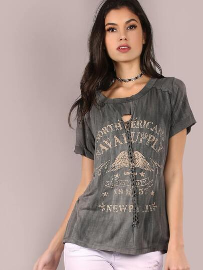 Vintage Wash Graphic Braid Tee CHARCOAL