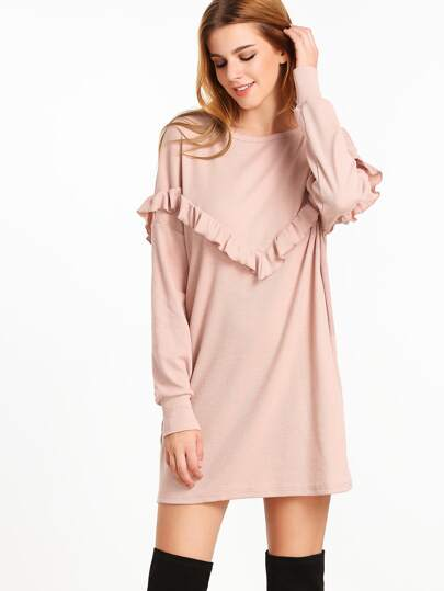 Pale Pink Ruffle Trim Drop Shoulder Ribbed Dress