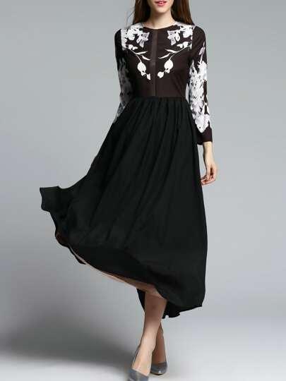 Schwarzes Kleid mit Rundhalsausschnitt Maxi-Kleid