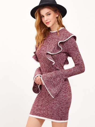 Vestito Increspato Contrasto A Maglia - Borgogna