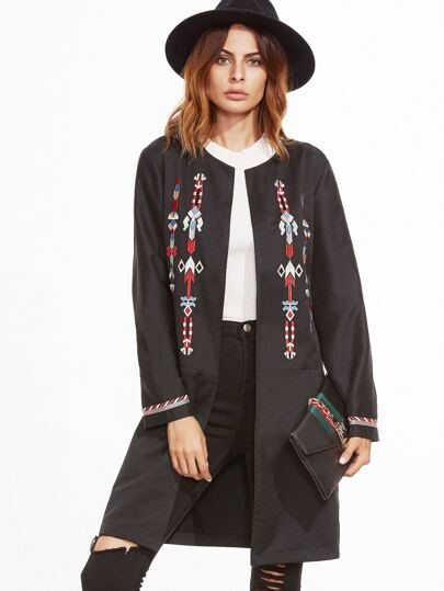 Black Collarless Open Front Embroidered Coat