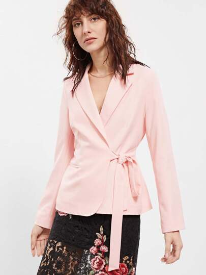 Self Tie Side Surplice Wrap Blazer